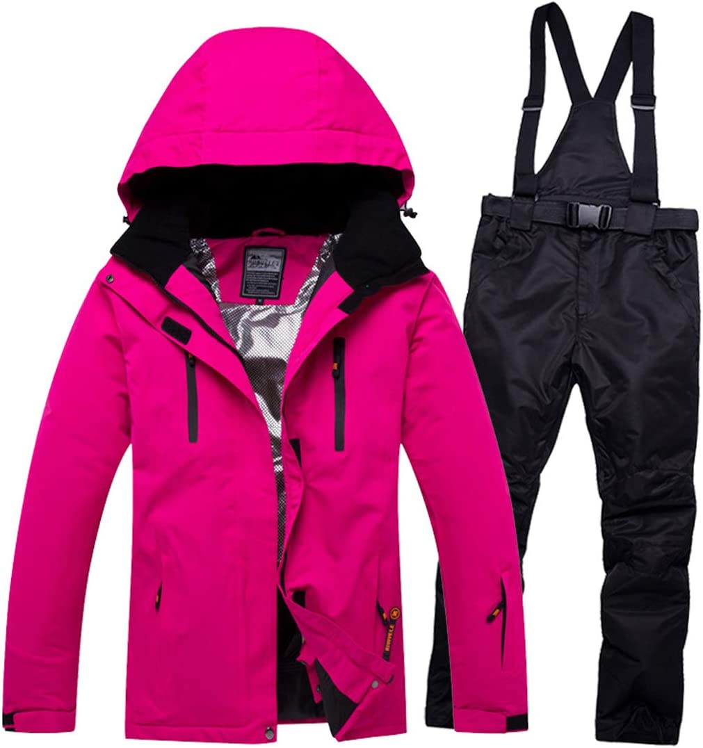 スキーウェア メンズ レディース 上下セット スノーボードウェア ジャケット パンツ ズボン スキースーツ セットアップ スノーボード ボード 防水 ユニセックス アウタージャケット スーツ スポーツコート 男女兼用 ローズ+ブラック Medium