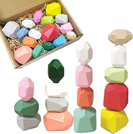 16 PCS Aitbay Wooden Building Blocks Balancing Blocks Set Lightweight Natural Colored Stones Stacking Games for Toddlers Educational Toys