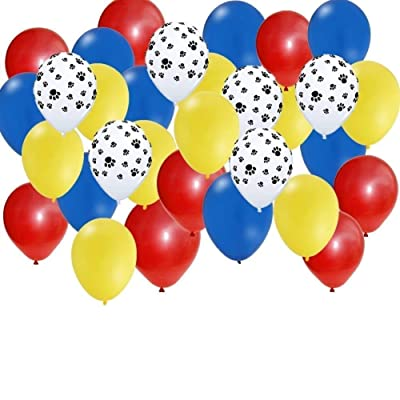 30 pc Set: Paw Party Balloons - Red, Yellow, Blue, Paw Print: Toys & Games