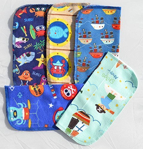 2 Ply Printed Flannel Washable. Pirates and Pals Fun Ocean Adventure- Set Napkins 8x8 inches 5 Pack - Little Wipes (R) Flannel by Gina's Soft Cloth Shop (Image #4)