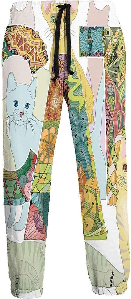 TYHG - Pantalones de chándal para hombre con diseño de gato con dibujo, pantalones casuales con bolsillos 3D Active Leggings: Amazon.es: Ropa y accesorios