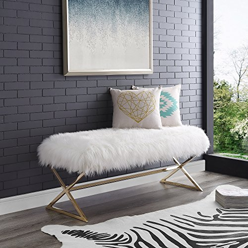 Aurora White Fur Upholstered Bench – Stainless Steel Legs | Gold Tone | Living-room, Entryway, Bedroom | Inspired Home Review