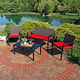 Cheap Sunnydaze Kula 4-Piece Outdoor Wicker Rattan Patio Furniture Lounger Set with Red Cushions