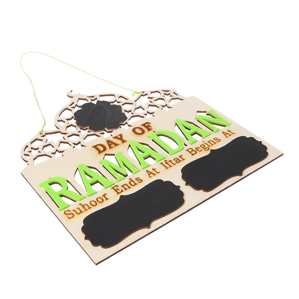 Ruda Placa para Colgar de Madera de Tiza de Ramad/án con dise/ño de oraci/ón isl/ámica