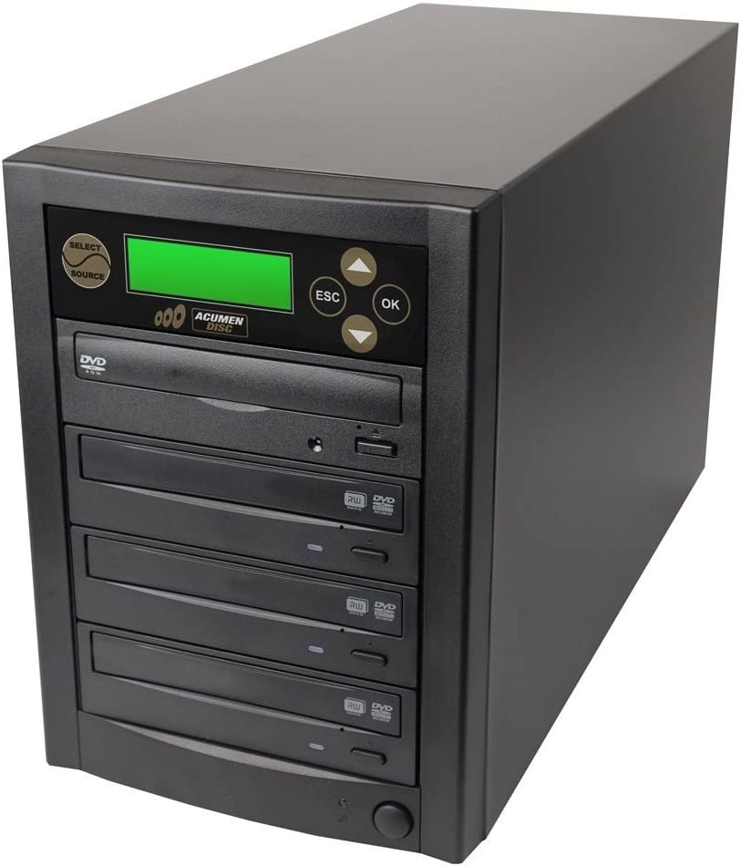 Acumen Disc 1 to 3 Targets Dual Layer 24X Burner DVD CD Copier Duplicator Machine Unit (Standalone Audio Video Copy Tower, Duplication Device)