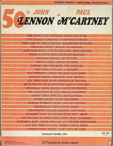 50 By John Lennon Paul Mccartney Piano Music Vocal Lyrics With