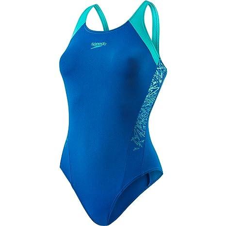 27c61238ff0f Speedo Boom Splice MuscleBack, Costume da Bagno Donna, Blu (Arabian  Night/Jade