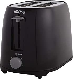 IMUSA USA GAU-80321B Black 2-Slice Basic Cool Touch Toaster with Extra-Wide Slot for Bagels and Removable Crumb Tray