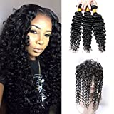 360 Lace Frontal With Bundles Curly Deep Wave Pre Plucked Bleached Knots Brazilian Human Virgin Hair Weave 20 22 24 +18 (360)