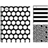 Mead 07076 Black and White Notebook, College Ruled, 3-Hole Punched, 10-1/2x8-Inch, 80-Sheet, 3 Assorted Designs