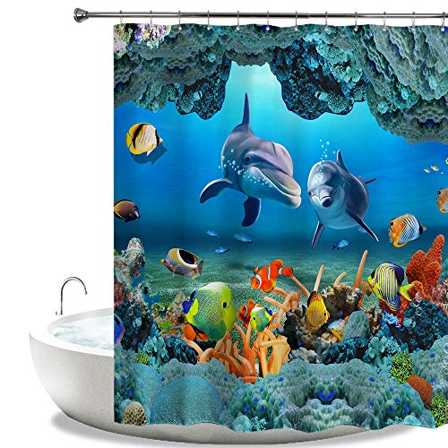 HIYOO Bathroom Decorative Polyester Fabric Waterproof Shower Curtain, Ocean Underwater Seabed Coral Happy Dolphins Fish Theme Design, High-Definition Image, with Hooks 60