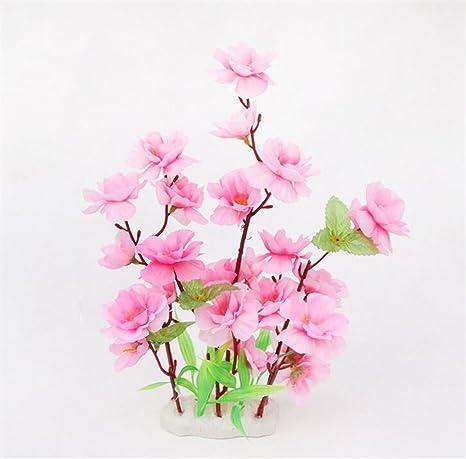 XCXpj Decoración Artificial para Acuario Planta Flor Decoración para pecera Tanque (Rosa)