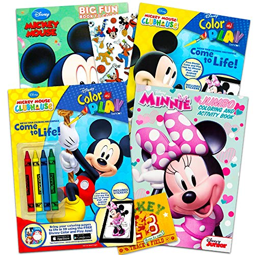 Disney Mickey Mouse Coloring Book Super Set with Stickers (4 Mickey Mouse Activity Books for Kids Toddlers) -