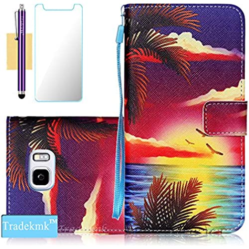 Galaxy S7 Edge Case,S7 Edge Case, Tradekmk(TM);(Cloud)(Wristlet)PU Leather Case with Card Slots Cash Compartment For Samsung Galaxy S7 Edge Sales