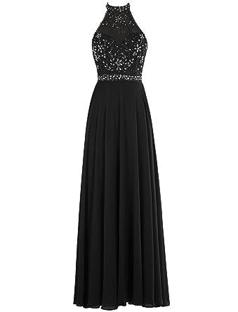 Bbonlinedress long Chiffon Halter Neck Beading Bridal Evening party Prom Dress