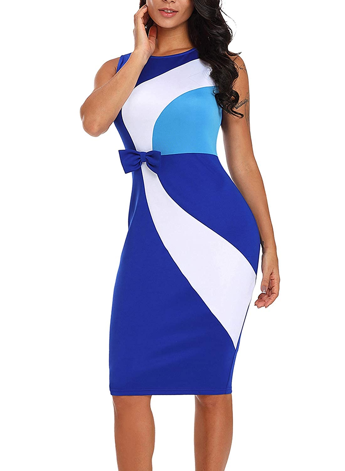 6d50c2c02 Lovezesent Women Bodycon Midi Dress Summer Sleeveless Color Block Sheath  Office Dress for Work with Bow Blue Small at Amazon Women's Clothing store: