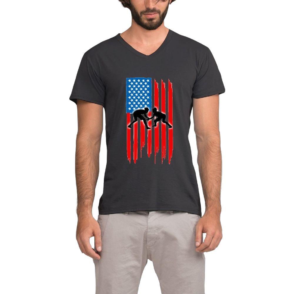 Mokjeiij American Flag Wrestling Men's Vital Performance Fitness V-Neck Tee Shirt by Mokjeiij