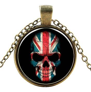 Cráneo Británico Estilo Gothic Steampunk Necklace Classic Unisex Cyber Punk Victorian Soldadura Colgante y Cadena Antiguo Cobre Vintage Hombres Mujeres ...