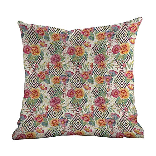 Outdoor Pillow Covers,Watercolor,Diamond Shaped Rectangles Patterned Background with Hand Drawn Plant Arrangement,Multicolor,Apply to Chair Couch bed18 x18