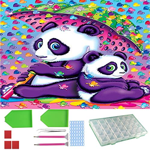 CJOY Crystal DIY 5D Diamond Painting by Number Kit (Lovely Panda Family) with 9 Piece Tool Set Full Drill Prime Rhinestone Picture Canvas Wall Decor with Accessory for Adult Kid Art Craft 12x16 Inch by C JOY