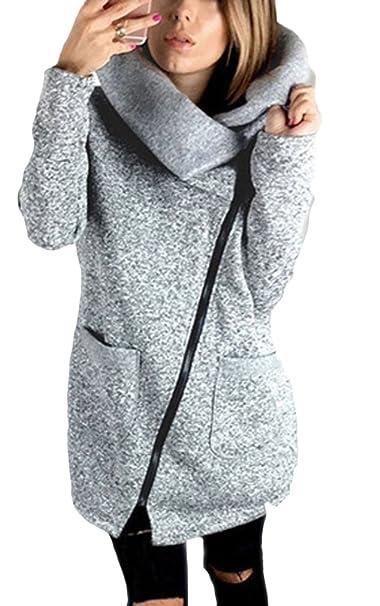 size 40 6da1d b0f16 Felpa Donna con Cappuccio Inverno Collo Alto Pullover Elegante Manica Lunga  Autunno Sweatshirt Obliquo Cerniera Giubbotto Grigio Outerwear Moda Casual  ...