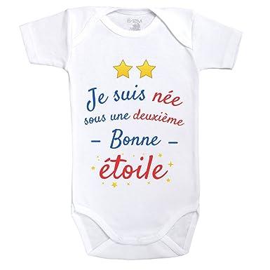 Baby Geek Née sous Une Deuxième Bonne étoile - Body Bébé Manches Courtes -  Coton - 741d336276d