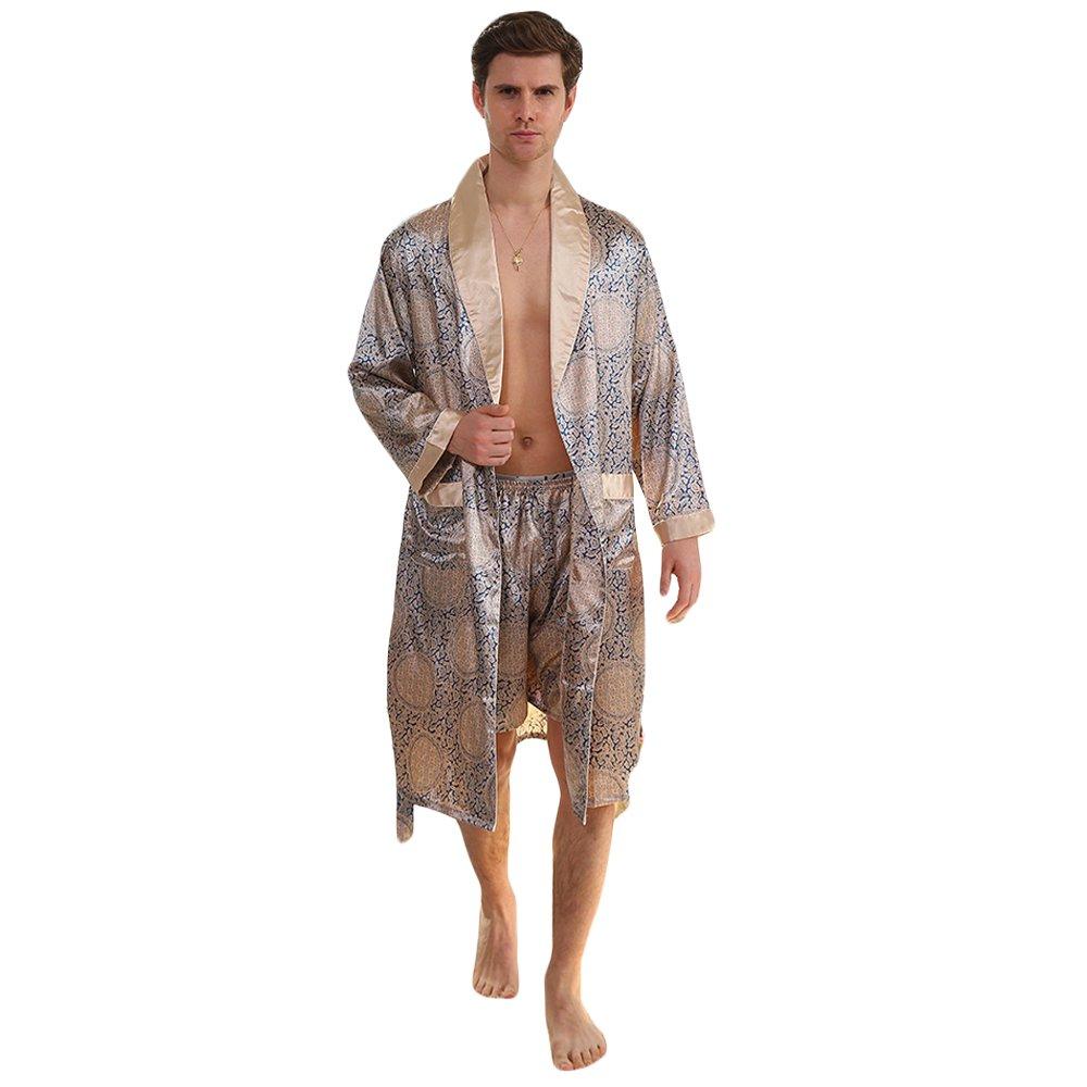 24e17ee40a WEEN CHARM Men s Kimono Satin Luxury Robe with Pajama Shorts Loungewear  Sleepwear Long Silk Bathrobe Boxer Short Set at Amazon Men s Clothing store