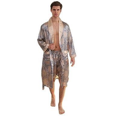 16b02ba6c0 WEEN CHARM Men s Kimono Satin Luxury Robe with Pajama Shorts Loungewear  Sleepwear Long Silk Bathrobe Boxer