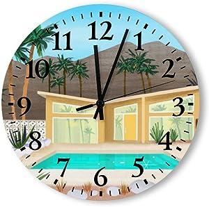 Tamengi Mid Century Modern Home Round Wall Clock, Rustic Silent Clocks Farmhouse Cabin Country Home Decor