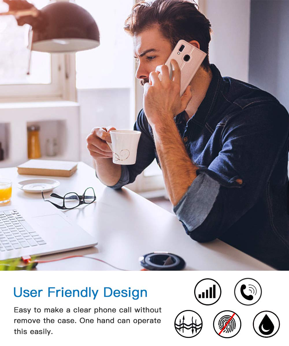 Handyh/ülle Tasche Leder Etui Folio Flip Cover Case PU TPU Klapph/ülle Komplettschutz Samsung A50 Phone 6.4 Zoll Aunote Samsung Galaxy A50 H/ülle Schwarz Samsung A50 Schutzh/ülle mit Kartenfach