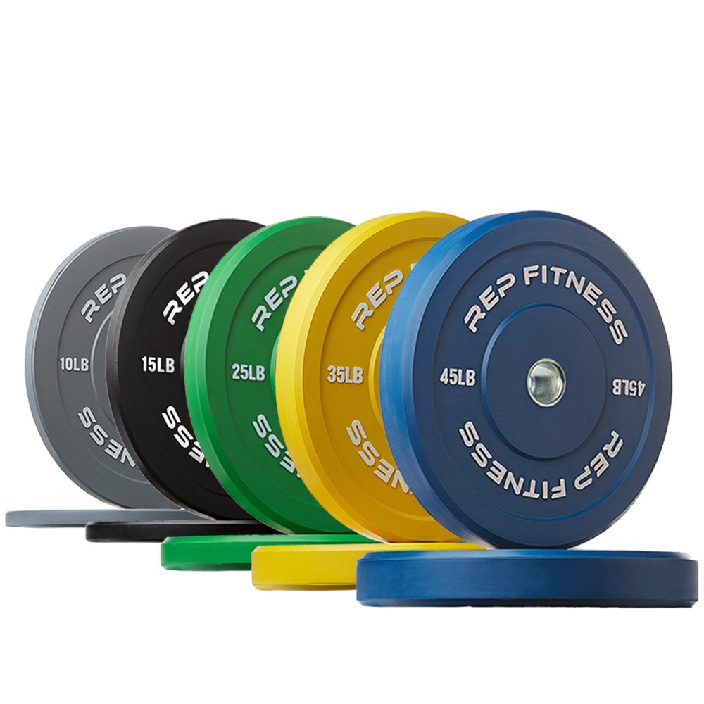 Rep Color Bumper Plates for Strength and Conditioning Workouts and Weightlifting, 260 lb Set