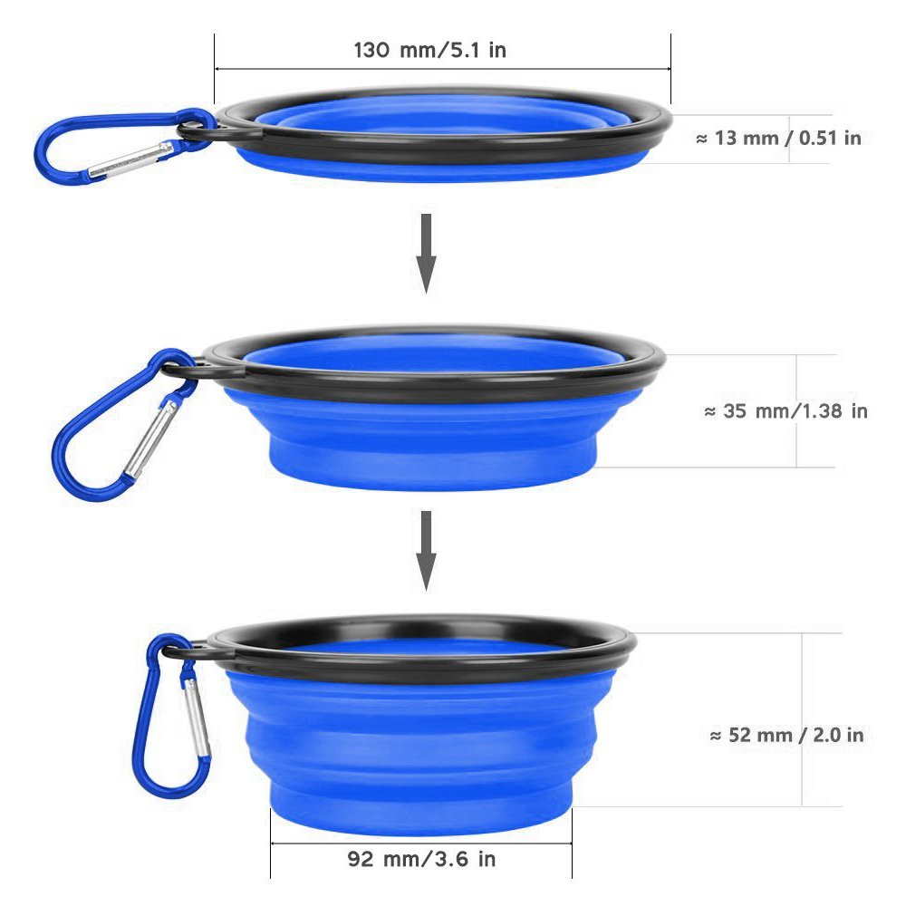 OCEANTREE Collapsible Pet Feed & Water Bowl,Food Silicone Pet Bowl,Portable Folding Feeder Travel Bowl with Clip for Medium & Small Dog Cat (2 Pack)