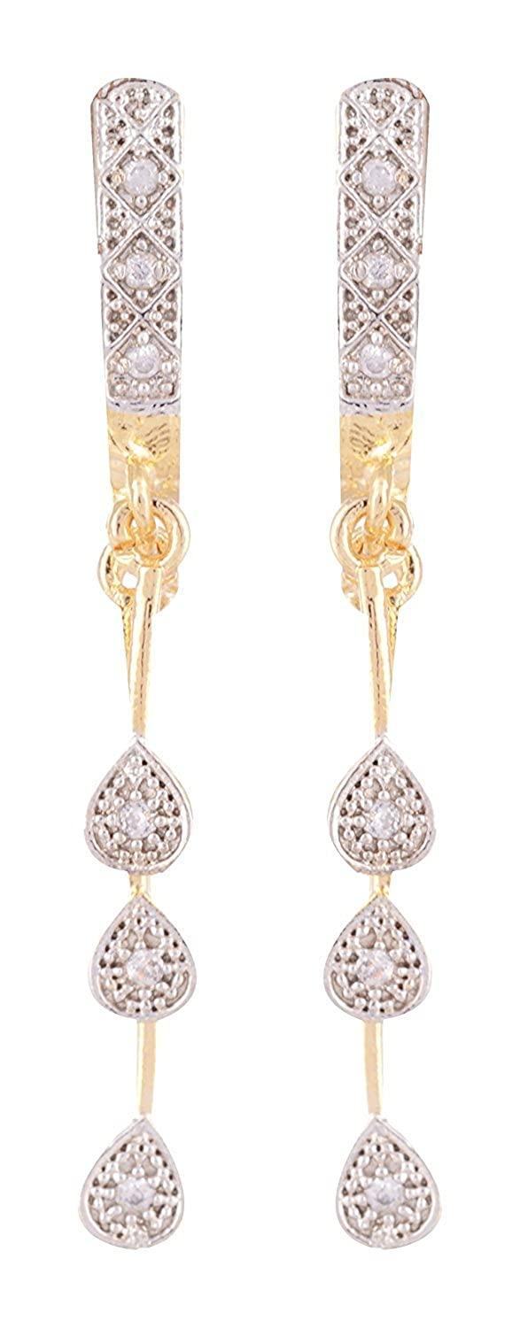 Silver & Golden American Diamond Alloy Dangle & Drop Earrings for Women & Girls
