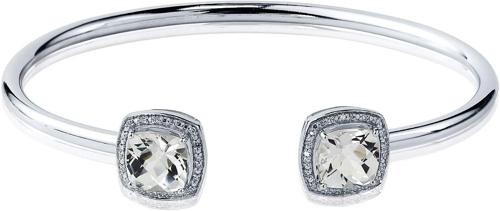 Amazon Com Sterling Silver Cushion Cut White Topaz And Halo Diamond Cuff Bangle Bracelet 5ct Tgw By Diamond Wish Jewelry