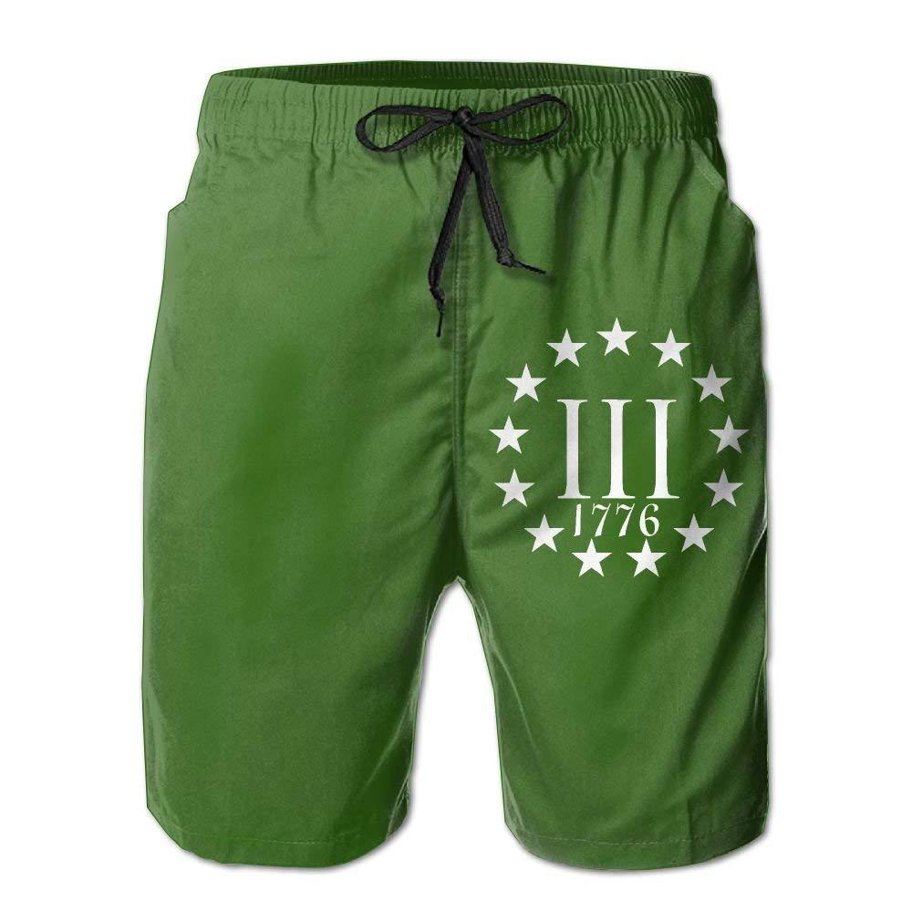 YUEJIQG Three Percenter 1776 Boardshorts Mens Swimtrunks Fashion Beach Shorts Casual Shorts Boardshort