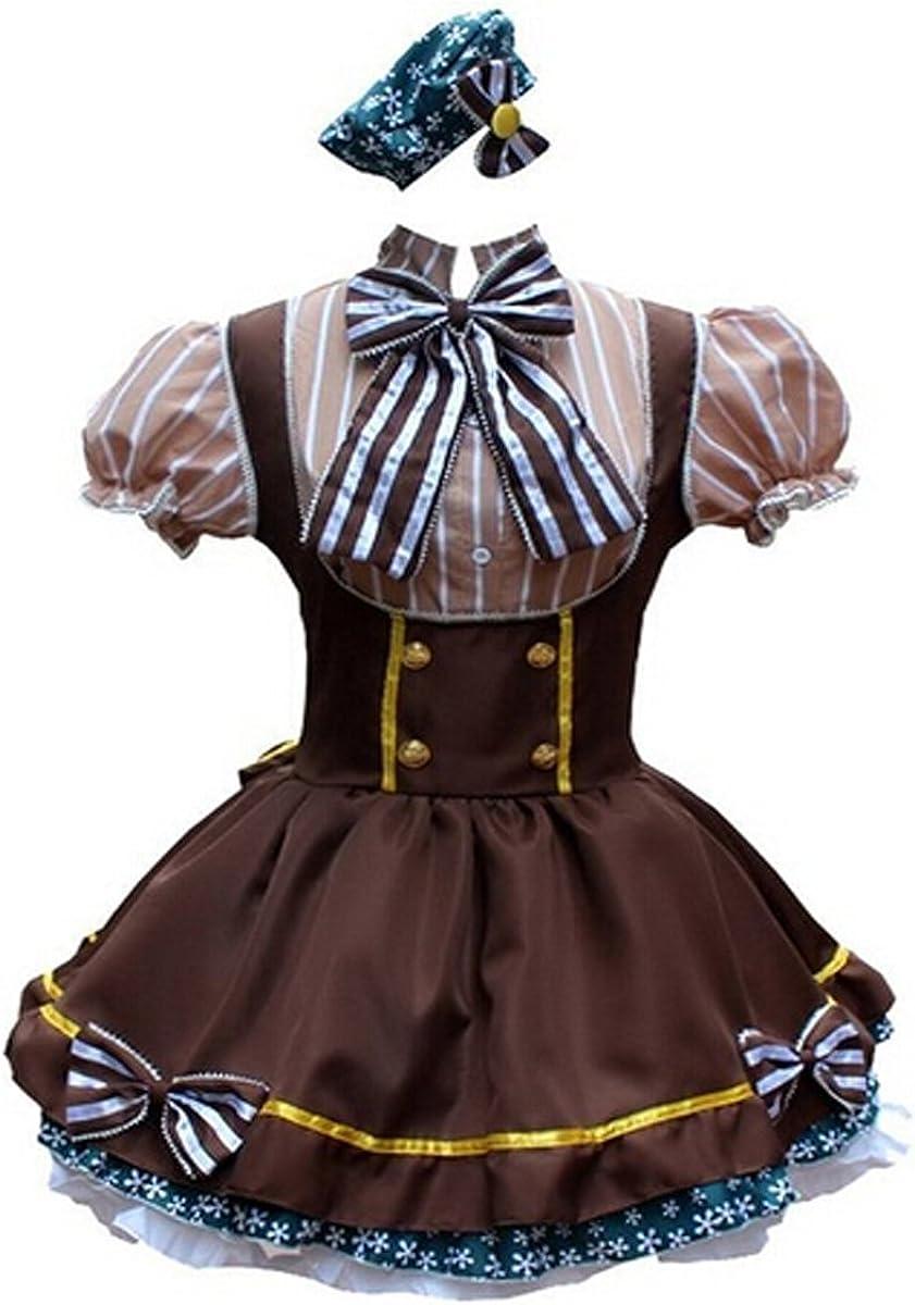 Ainiel Womens Lolita Maid Cosplay Costume Hanayo Koizumi Style Anime Party Dress Coffee