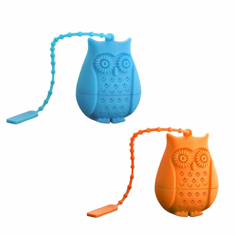 ISKYBOB 2 Pack Cute Owl Silicone Tea Infuser, Reusable Safe Loose Leaf Tea Bags Strainer Filter (Blue+Orange)