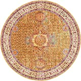 Luxury Traditional Vintage Modern Rugs 6′ x 6′ FT Round Gold Troy Collection Area Rug – Magnificent Living Room – Dinning room – Sitting room – Top Home Décor Review