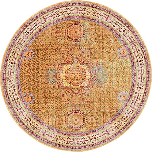 Luxury Traditional Vintage Modern Rugs 6′ x 6′ FT Round Gold Troy Collection Area Rug – Magnificent Living Room – Dinning room – Sitting room – Top Home Décor