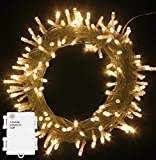 PMS 50/100/200/300/400/500 LED Battery Power Operated String Fairy Lights Christmas Xmas Garden Party Decoration (Warm White, 100 LEDs)