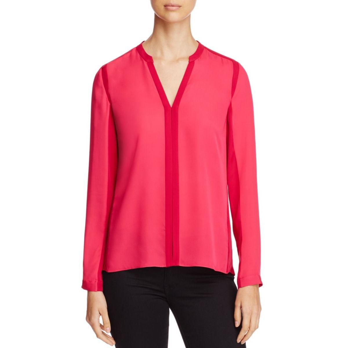 Elie Tahari Womens Silk Colorblock Blouse Pink XL