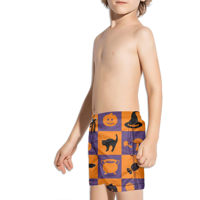 FullBo Halloween Traditional Colors Checkerboard Little Boys Short Swim Trunks Quick Dry Beach Shorts