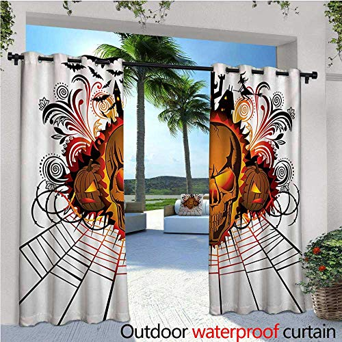 homehot Halloween Outdoor Blackout Curtains Angry Skull Face on Bonfire Spirits of Other World Concept Bats Spider Web Design Outdoor Privacy Porch Curtains W72 x L108 -