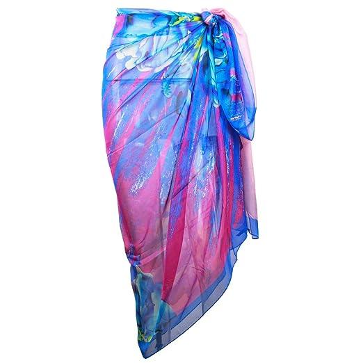 734ef63cee4fd Block Garden Womens Chiffon Beachwear Swimsuit Cover up Beach Sarong Wrap  Dress (S01 Blue)