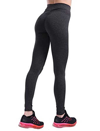995150e6364 CHRLEISURE Workout Leggings for Women - High Waisted Leggings with Scrunch  Butt, Push Up, V Shape Waist Leggings Black S: Amazon.co.uk: Clothing