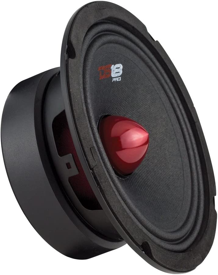 "DS18 PRO-GM8B Loudspeaker - 8"", Midrange, Red Aluminum Bullet, 580W Max, 190W RMS, 8 Ohms - Premium Quality Audio Door Speakers for Car or Truck Stereo Sound System (1 Speaker)"