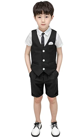 e90ba7bed4e1b Feaya Boys Summer Wedding Suits 3 Pieces Shirt Vest and Shorts Pants Set  with Tie