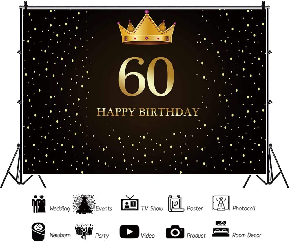 YEELE 15x10ft Golden Crown 60th Birthday Backdrop Black and Gold 60 Years Old Celebration Photography Background Mom Papa Man Woman Portrait Party Table Photo Booth Digital Banner