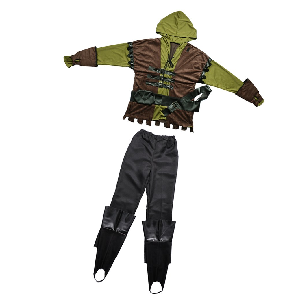 MagiDeal Set de Traje de Disfraces de Hombres con 1 Par de Fundas de Arranque Cosplay de Robin Hood Archer Estilo de Guerrero Medieval - M