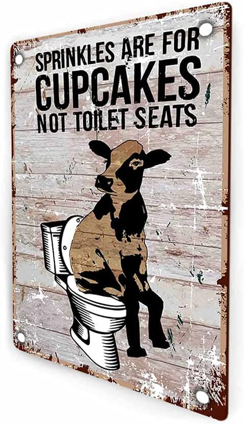 Sprinkles are for Cupcakes Not for Toilet Seats Bathroom Sign, Cow Funny Retro Farmhouse Guest Bathroom Decor Sign Wall Art